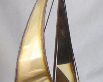 Vintage Jere Metal Sailboat Sculpture, Boat on Onyx Rock, Copper Brass Steel Artist Signed