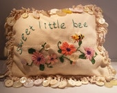 Sweet Little Bee Embroidered Decorative Pillow