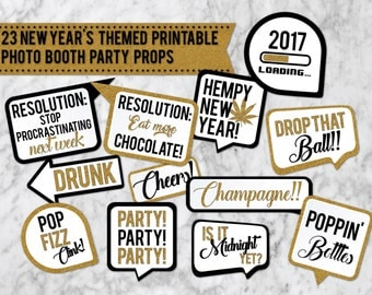 23 New Years Eve Printable Party Photo Booth Props - INSTANT DOWNLOAD