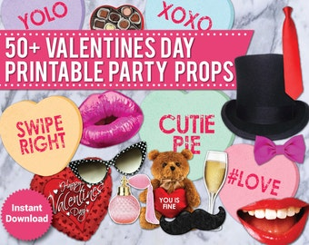 50+ Valentines Day Props, Valentine Photo Booth Prop, Printable, Valentines Day Decor, Lips, Hearts, Candy, Mustache,  speech bubbles