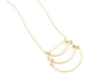 Gold Triple Arc Necklace