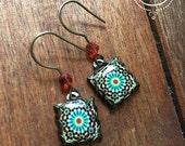 Moroccan tile dangle earrings, Islamic jewelry, Bohemian earrings, Islamic tile design, Tribal jewelry, Folk art