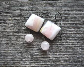 Pink Opal and Rose Quartz Earrings.  Oxidized Sterling Silver.  Pink Gemstone Earrings.  Dangle Earrings.