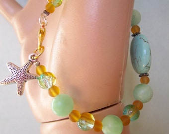 Green jade bracelet with turquoise, crackle and sea glass round beads and starfish charm / women's green stone and beach glass jewelry
