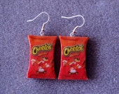 Cheetos Crunchy Kitsch Dangle Polymer Clay Junk Food Earrings Hypo Allergenic Nickle-Free