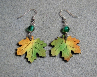 Autumn Leaves Maple Oak Handmade Wooden Dangle Earrings Hypoallergenic 11E
