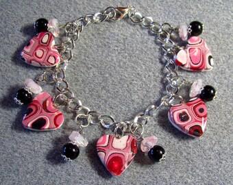 Valentine's Day Polymer Clay Resin Klimt Retro Pink Black Heart Charm Bracelet Adjustable K5