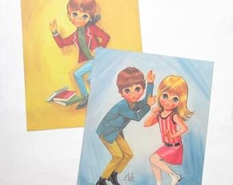 Vintage Eve Prints Big Doe Eyed Children Mod 60's Kids Boy Girl Dancing Hippie Set of Two