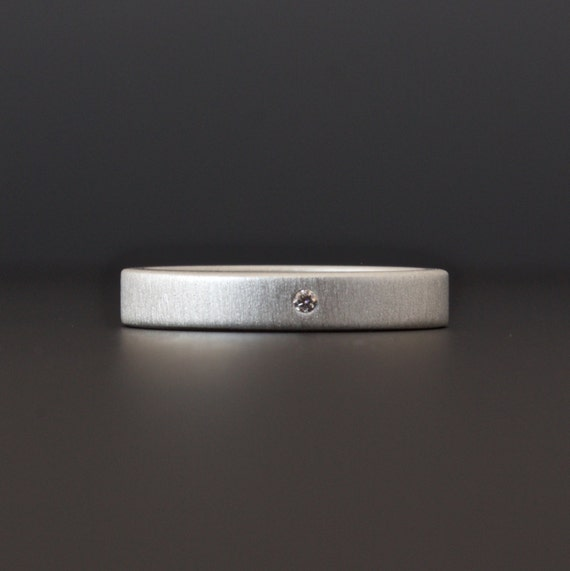 Eco Friendly Modern Engagement Ring - Matte Finish Sterling Silver Diamond Ring - Simple Wedding Band - 3 mm