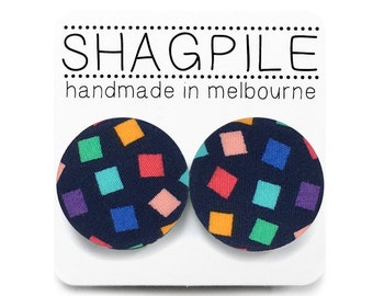 Large Button Stud Earrings - Geometric Print - Multicoloured Squares on Navy Fabric - Nickel Free Surgical Steel Posts
