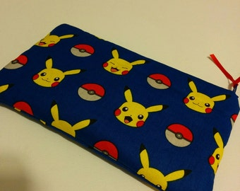 POKEMON in Blue Zippered Blue Wallet Pouch Make Up Bag Pencil Case Anime Cosplay