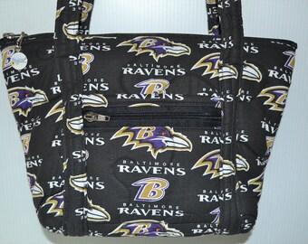 Quilted Fabric Handbag Purse Baltimore Ravens Football NFL