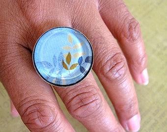 Flora Grass Print Glass Ring - Soft Blue Brass Ring - Adjustable - Glass Ring