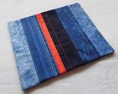 NEW Blue and Orange Scrappy Patchwork Coffee Coaster, Mug Rug, Snack Mat