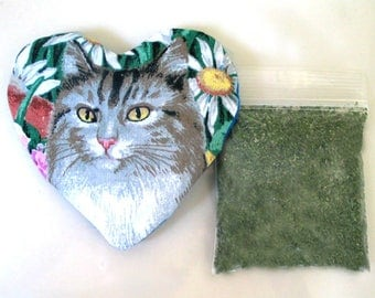 Catnip Heart Toy with Catnip Refillable  Tabby Tiger Cat