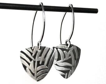 Fern Industrial Earrings - Silver Dangle Triangle Earrings Handmade by Queens Metal