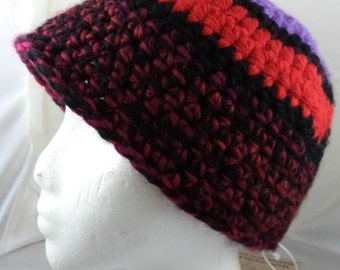 Maroon, Red, Light Purple, and Black Beanie (large) (SWG-HBEN-L01)