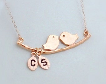 Silver Kissing Love Birds on Branch Necklace, Initial Leaf Charm Necklace, Gold Family Mothers Jewelry, Rose Gold Couples Letter Necklace