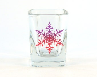 Snowflake Mandala - Prism Shot Glass - Snowflake Design 2 - Etched and Painted Glassware - Custom Made to Order