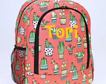Personalized Backpack - Personalized Cactus Backpack - Monogrammed Backpack - Backpack Diaper Bag - Large Backpack - Girl Backpack