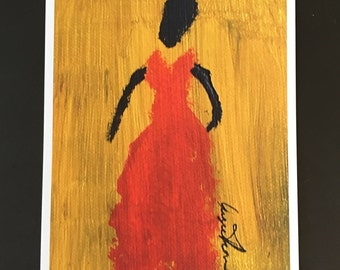 Lady In Red -Ethnic Black Woman Print On Paper