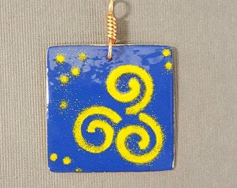 Enameled Cobalt  and Goldenrod Spiral Square Pendant