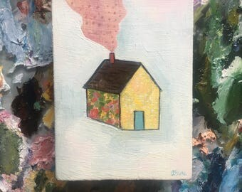 A home made of wildflowers and sunshine - original oil painting on wood