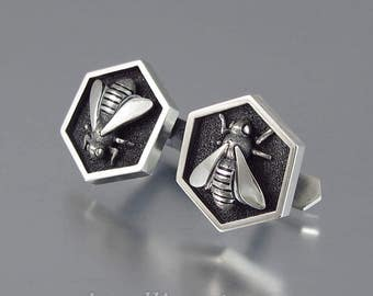 HONEY BEE cufflinks sterling silver mens cuff links