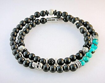 SP Gemstone Bracelet (Men's): Mahogany, Turquoise,Pewter, Jet, Sterling Silver with Skull and Swarovski Beads