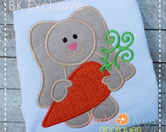 Cute Bunny with Carrot Applique Design 4x4, 5x7, 6x10, 8x8