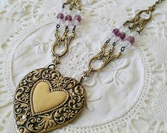 Brass Heart Pendant, Beaded Czech Glass, Antique Gold Filigree, Bold Statement Necklace, Brass Jewellery, OOAk, Bohemian Jewellery, Gypsy