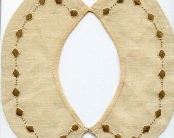 Embroidered Arts and Crafts Style Linen Collar + Bonus Edwardian Brown Antique Vintage 3719