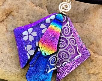 """Unique 3D Dichroic Glass Pendant with Adjustable 16"""" - 18.5"""" black Necklace Purple Pink"""