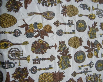 Vintage bark cloth type fabric browns, greys, yellow, cream, Schwartz-Liebman Textiles, fruit, bonsia, coin, key, flower, musical instrum.