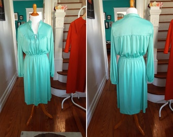 Vintage Sea Foam Teal Mint Long Sleeve Dress