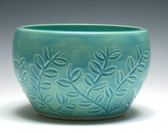 Turquoise Bowl, Turquoise Pottery, Branch and Leaf Design, Blue Green Bowl, Handmade Ceramics, Home Decor