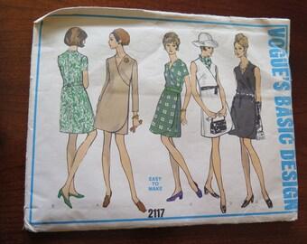 Vintage VOGUE 2117 Misses One Piece Wrap Dress Sewing Pattern size 40 B44 UNCUT