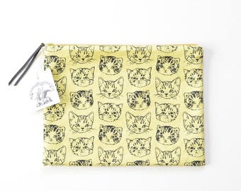 Cute Cats Large Flat Zipper Pouch | Original Fabric Design | Yellow/Mustard