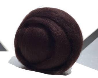 """Dark Brown Merino Wool Roving, Needle Felting wool Spinning Fiber, Merino, 1 oz , """"Dark Chocolate"""", Cacao, Brown Merino roving"""