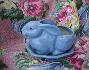 Rabbits ceramic planters.One in blue and one in white*Vintage 1950's  Just darling