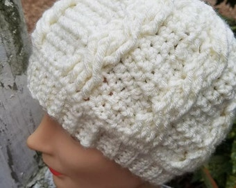 Winter White Cable Messy Bun Hat Ready to Ship