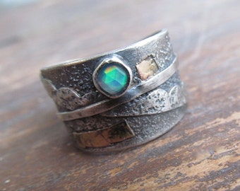 Adjustable RING Silver and Gold Ring Adjustable Ring sterling Silver Gold Ring Rustic Ring Opal Jewelry Adjustable Wide Silver Band