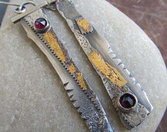 Long Dangle Earrings Gold Keum Boo Earrings Long Silver Gold Earrings Rustic Silver Jewelry Red Garnet Gemstone Dangling Earrings