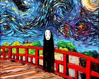 Spirited Away No Face Art - Starry Night Giclee print van Gogh Was Never Spirited Away by Aja 8x8, 10x10, 12x12, 20x20, and 24x24 available