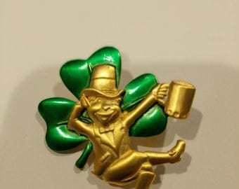 Artifacts Vintage  Gold tone  Leprechaun green shamrock pin St Pattys day Pin St Patrick