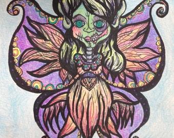 Made to Order Fantasy Gothic Horror Zombie Fairy 8x8 Illustration Original Black Light Reactive Art