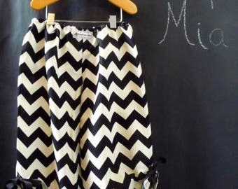 Sample SALE - Will fit Size 12month to 3T - Ready to MAIL - Samurai PANTS with grommet Detail - Cream & Black Chevron - by Boutique Mia