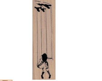 Rubber stamp Banksy  puppet Marionette Girl      Anarchist   stamping graffiti outsider art play  craft supplies number 19971