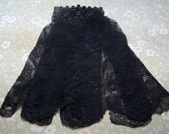 Antique Victorian Black Chantilly Style Lace Jabot Black Glass Top w/Stars