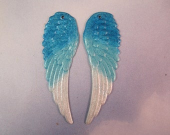Angel WingsOriginal Iridized Turquoise,Aqua and White and Lavender Charms 9160L